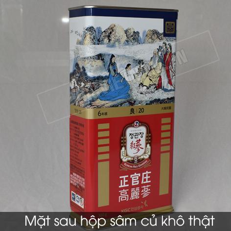 Hình ảnh sau trước hộp hồng sâm củ khô thật và là mẫu hiên tại đang được bán trên các nước