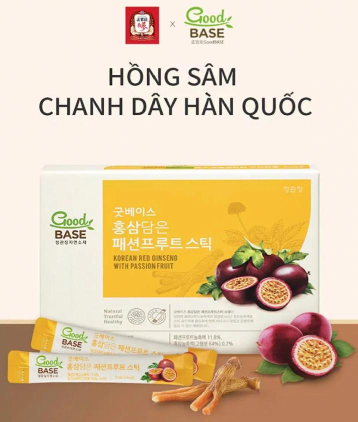 Nước hồng sâm GoodBase Chanh Dây KGC Cheong Kwan Jang 10ml x 30 gói