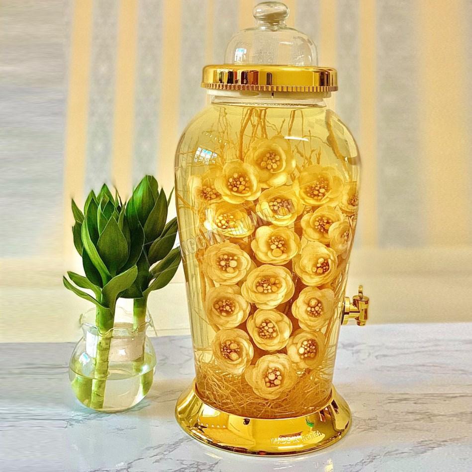 Bình rượu hoa sâm 13,2 L bình tròn có van tỉa hoa hồng, rượu nhân sâm, rượu sâm hàn quốc