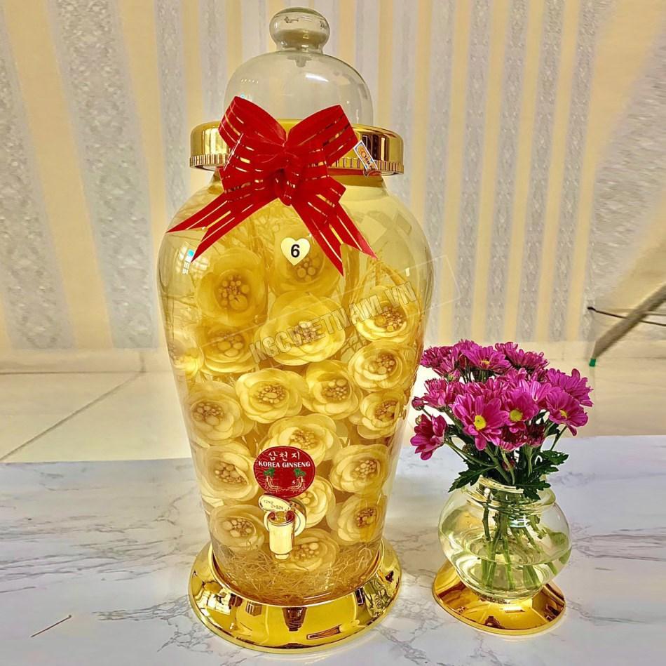Bình rượu hoa sâm 13,2 L bình tròn có van tỉa hoa hồng, rượu nhân sâm