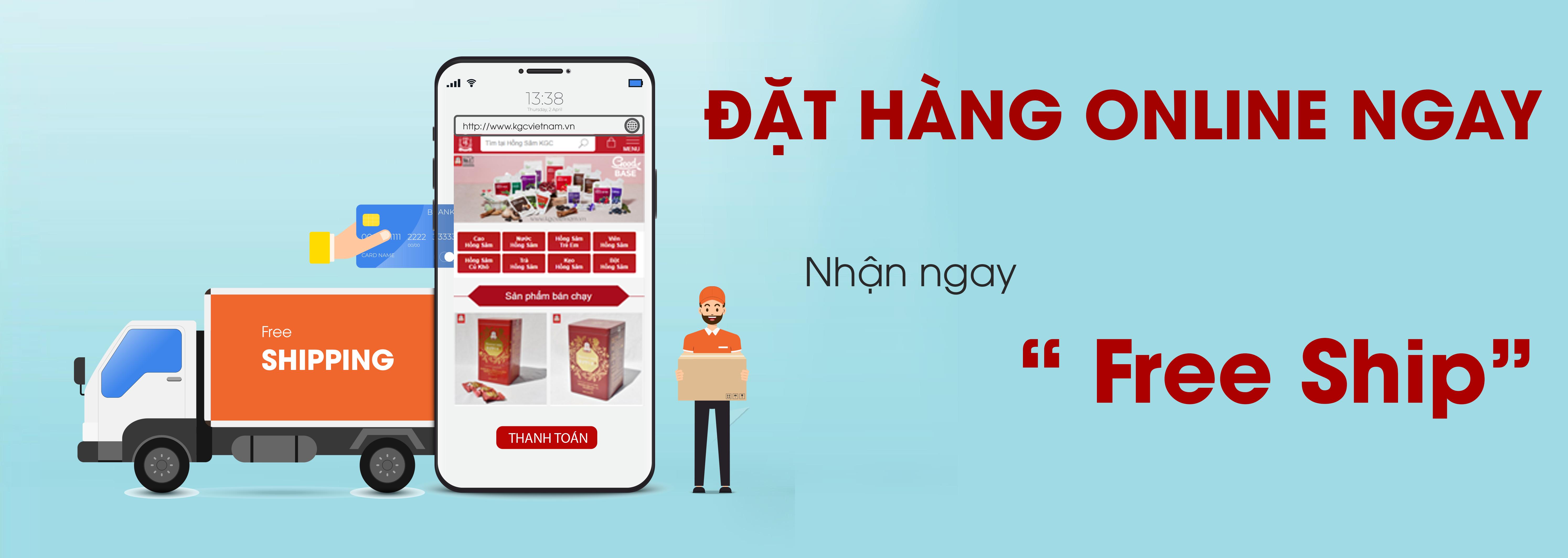 Banner home đặt hàng online ngay nhận ngay free ship