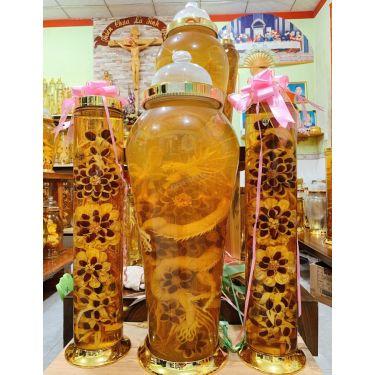 Bộ bình rượu hoa sâm điêu khắc rồng may mắn 63 lít
