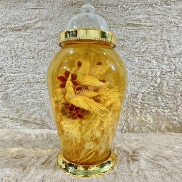 Bình rượu sâm điêu khắc chim uyên ương khổng tước bình 13,2 lít bình số 6