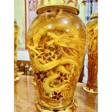 Bình rượu sâm điêu khắc rồng may mắn bình 30 lít bình số 2