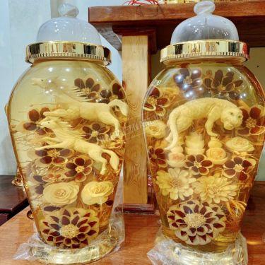 Bình rượu sâm điêu khắc song Mã bình 30 lít bình số 2